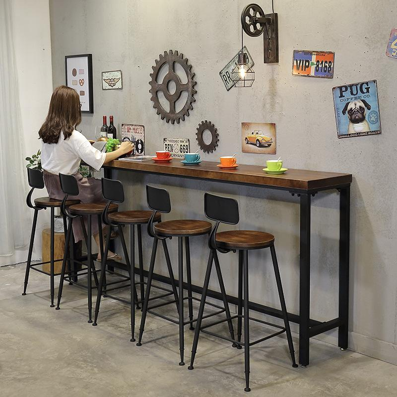Bar American Vintage Solid Wood High Base Bar Stool Milk Tea Shop Cafe Dining Tables And Chairs Set Strip Bar Counter