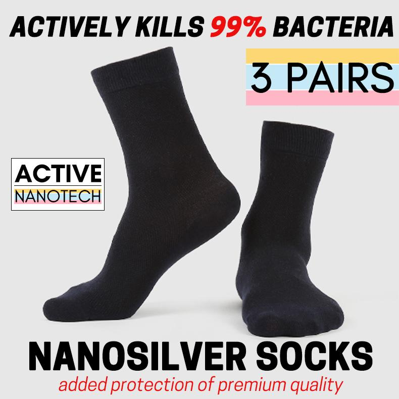 [3 Pairs Pack] Men Ag Active+ Nanotech Anti-Bacterial & Odour Control Regular Socks Premium Item Ready Stock Sg Next Day Shipping By Einashop.
