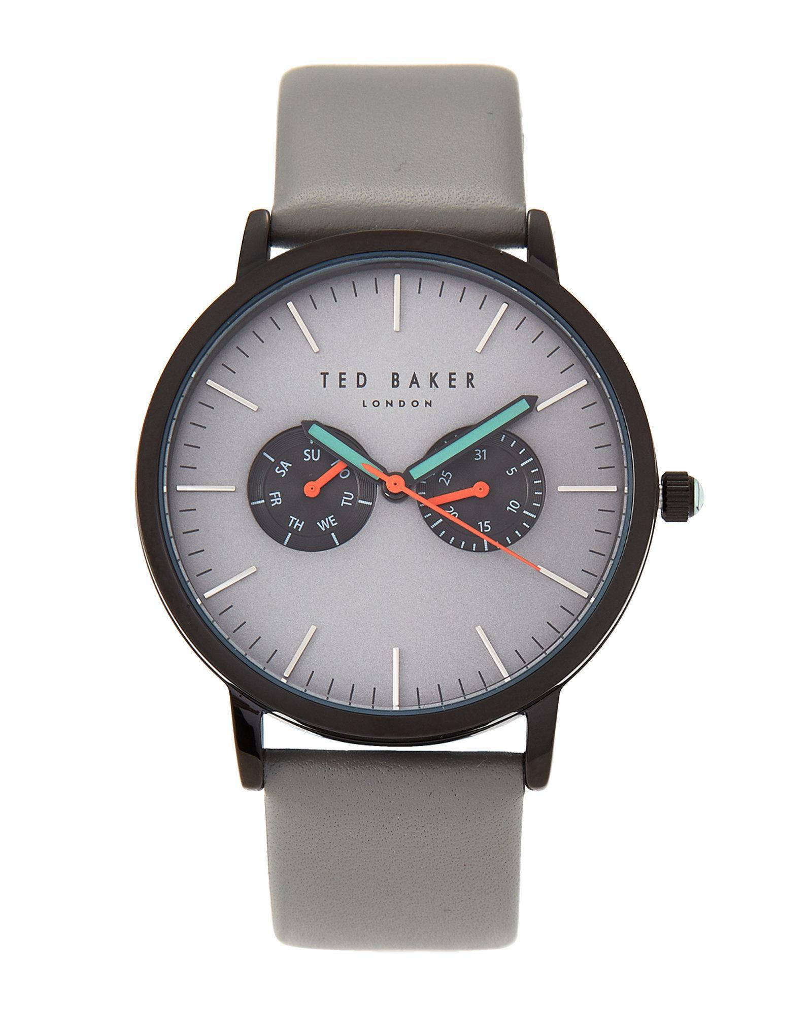 strap watches baker leather grey watch and c row category mens ted s men jewellery accessories round granth designer