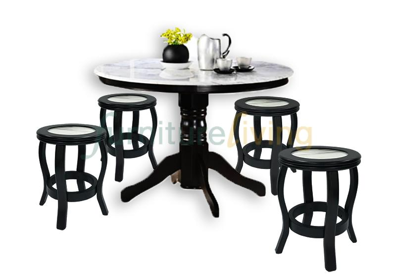 Furniture Living 1+4 3FT Round Natural Marble Top + Solid Wood Dining Set (Walnut)