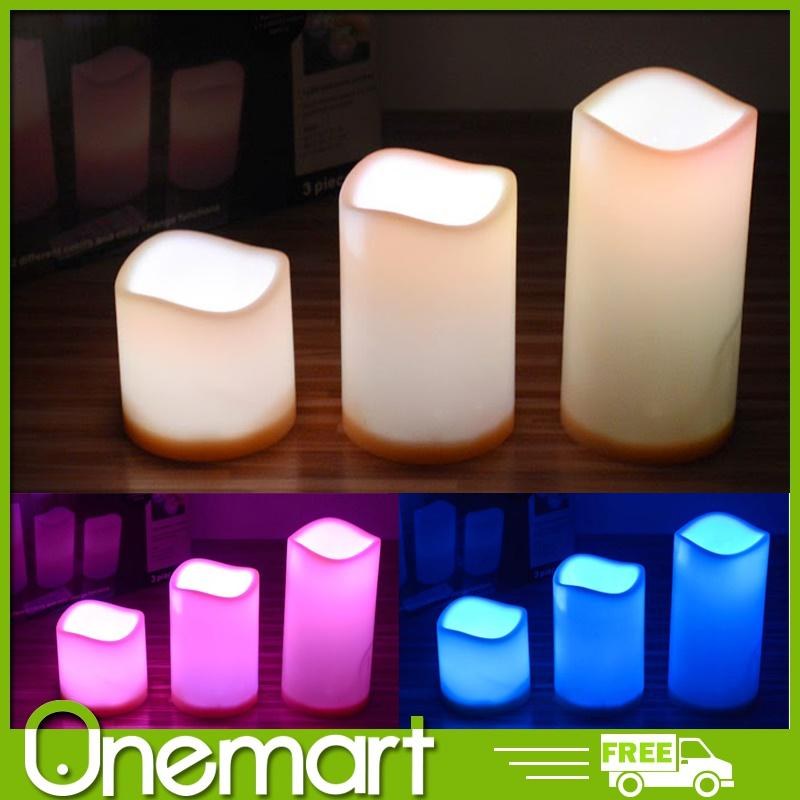 [One Mart][LIFE+] Romantic LED Candles Set of 3 ★ 12 Colours in 1 ★ Remote Control and Batteries Included
