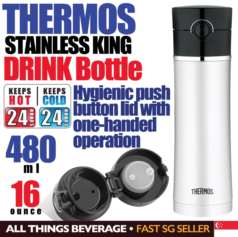 Thermos Sipp Drink Bottle Stainless Steel 16 Ounce 480 ml Black