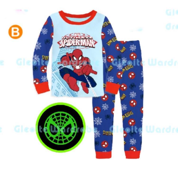 Kids Pajamas Set Glow In The Dark Spiderman Batman Pyjamas Set By Eddalabz.