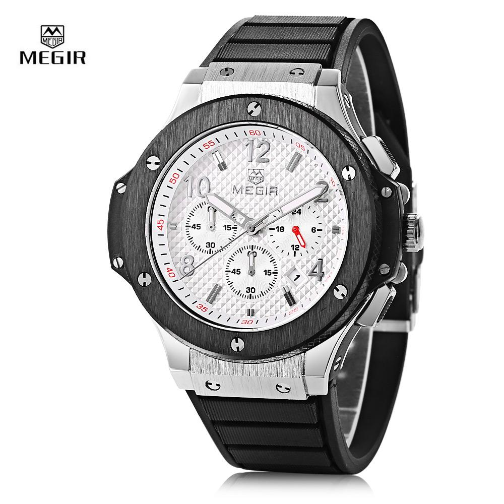 Price Megir 3002G Male Quartz Watch With Date Function Silicone Band Luminous Pointer 30M Water Resistance Intl Megir Original