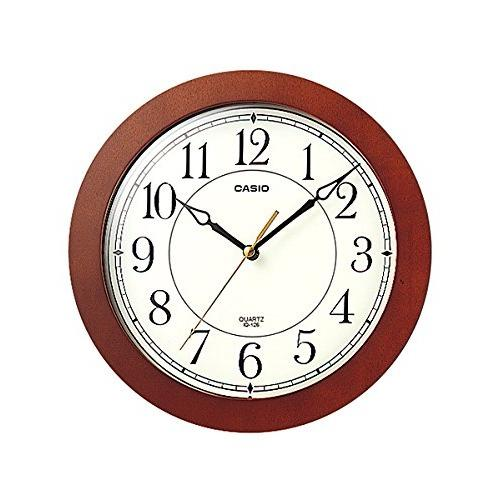 Best Deal Casio Iq 126 5 Wall Clock With 10 Inches Thinline Quartz Marron Wood Frame And Beige Dial Battery Included Limited Edition