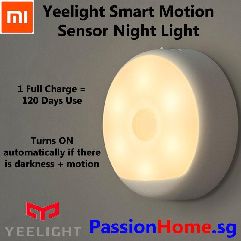 Yeelight Smart Rechargeable Motion Sensor IR Nightlight - Plug and Play Night Light- Built in Infra Red Human Body Motion Sensor and Light Sensitive Sensor - USB Power Recharge - Built in Battery lasts 120 Days - Xiaomi Home Automation - Passion Home