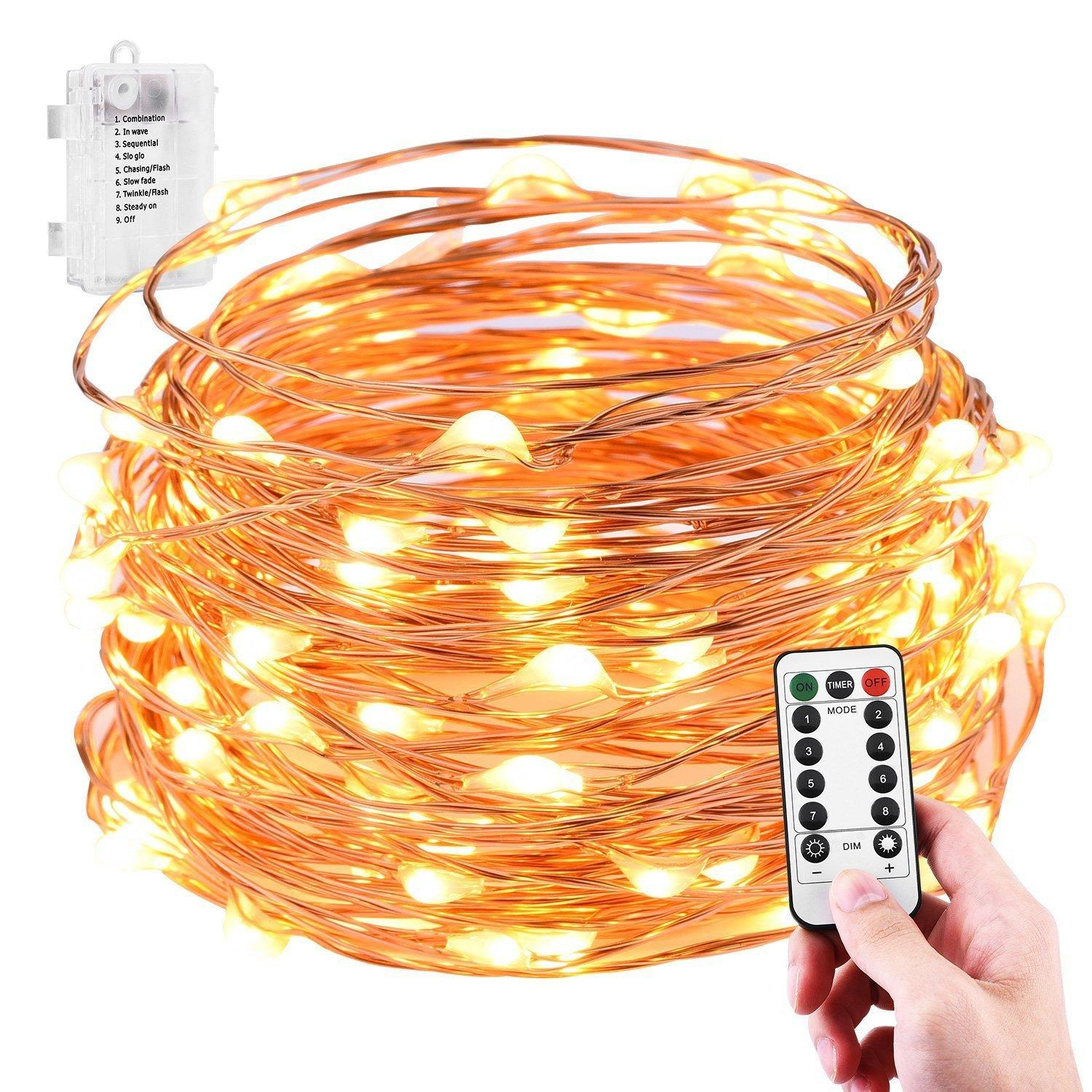 10M 100 LED Battery Operated Copper Wire Fairy Light - 8 Modes with IR Remote Control (starzdeals)
