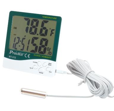 Ac - Proskit NT-312 5 in 1 Multi-function Digital Temperature Humidity Meter with Probe, Alarm Clock & Calendar (ProsKit)