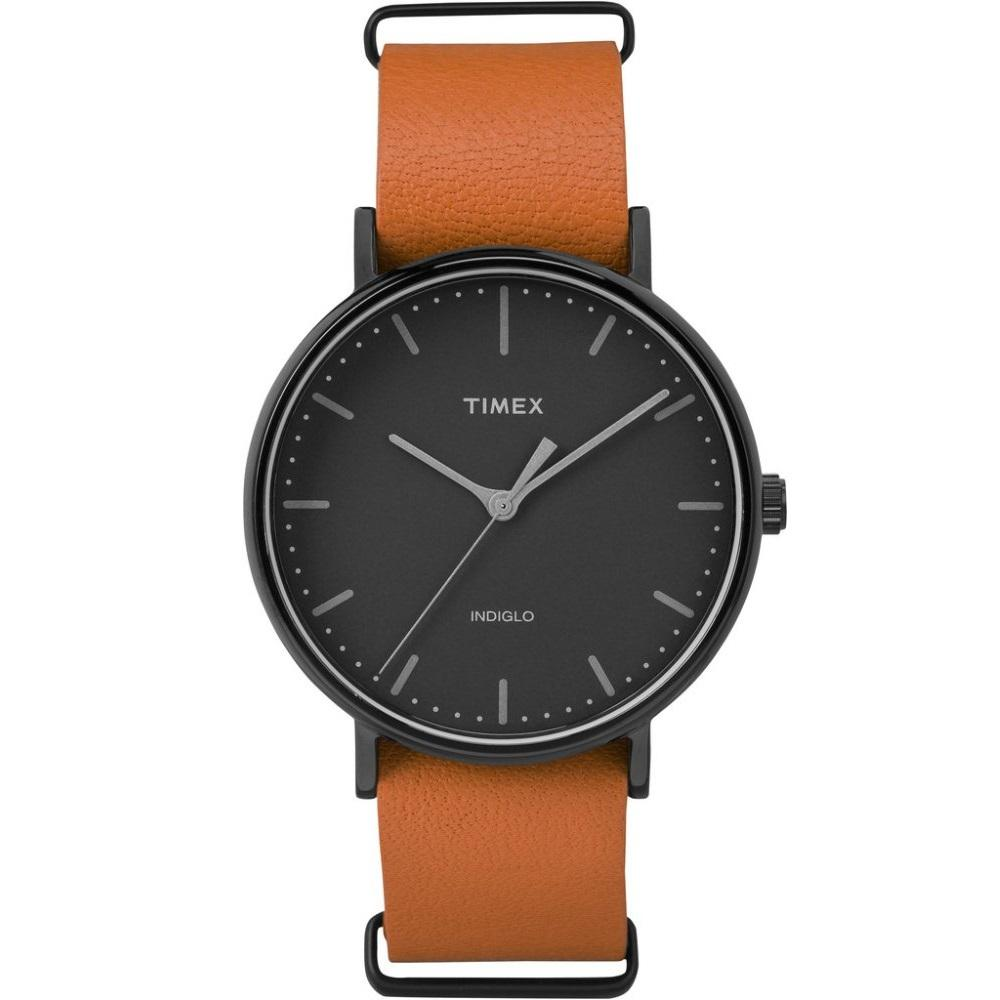 Buy Timex Weekender™ Fairfield Orange Leather Slip Thru Strap With Black Dial Case Tw2P91400 Timex Online