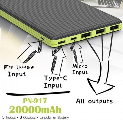 Pineng Pn 917 20000Mah 3 Input 3 Output Lithium Polymer Power Bank Promo Code