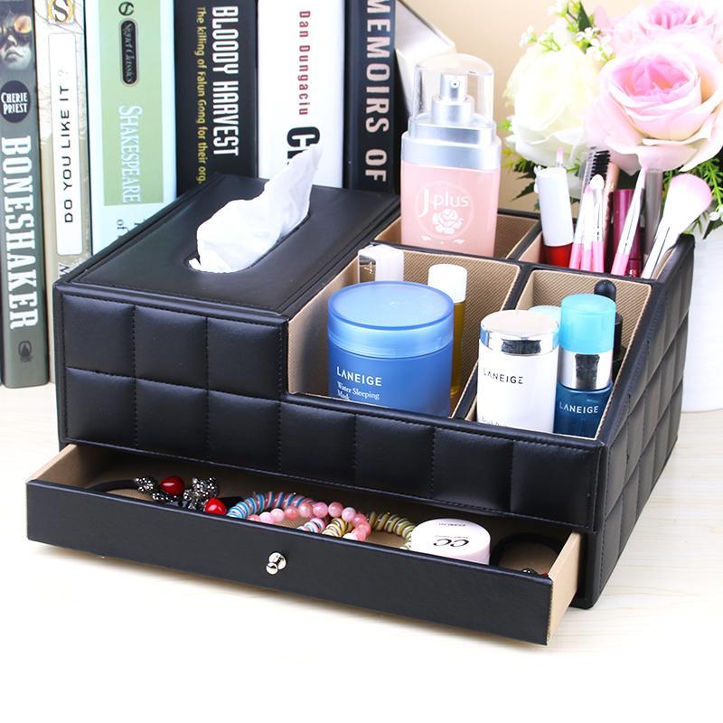 Creative Desktop Makeup Storage Box European Style Dormitory Bedroom Household Tissue Box Simple Dresser Makeup Kit
