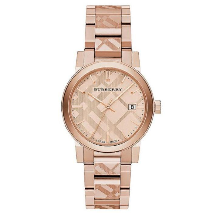 Burberry Rose Gold Engraved The City Womens Watch 38mm Dial Stainless Steel Bu9039 By Watch Centre.