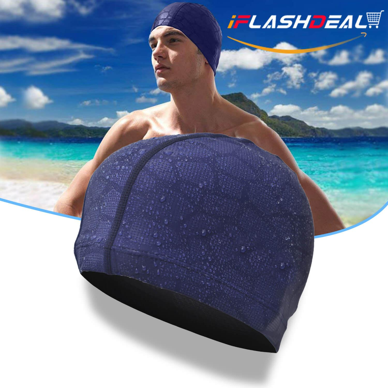 a5bb5de3c1fd iFlashDeal Swim Cap Adult Swimming Cap Cotton Fiber Swimming Hat for Men  Flexible Waterproof Moisture-