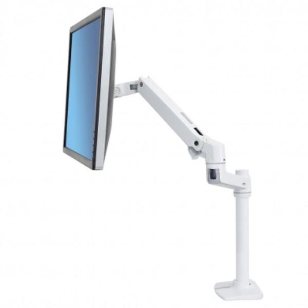 Ergotron LX Desk Mount Monitor Arm, Tall Pole, Bright White Texture