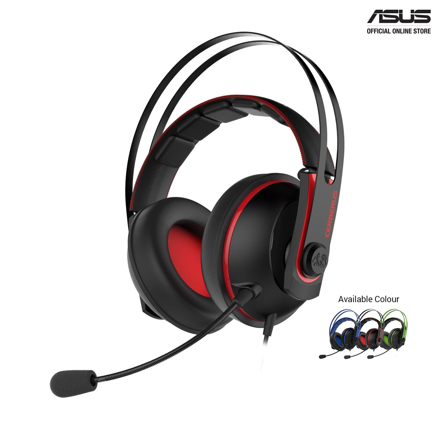 Cerberus V2 gaming headset with 53mm Asus Essence drivers, stainless-steel headband, and wrap-around ear cushions