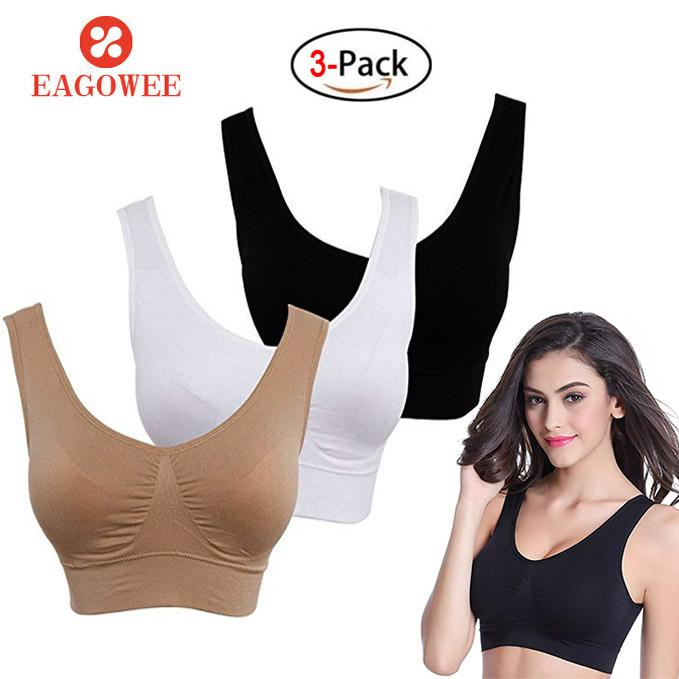 Sale Eagowee Sleep Bra Compression Underwear Sports Bra With Removable Pads Fitness Seamless Push Up Sports Bra Women Sport Top Yoga Vest 3Pcs Set Intl China