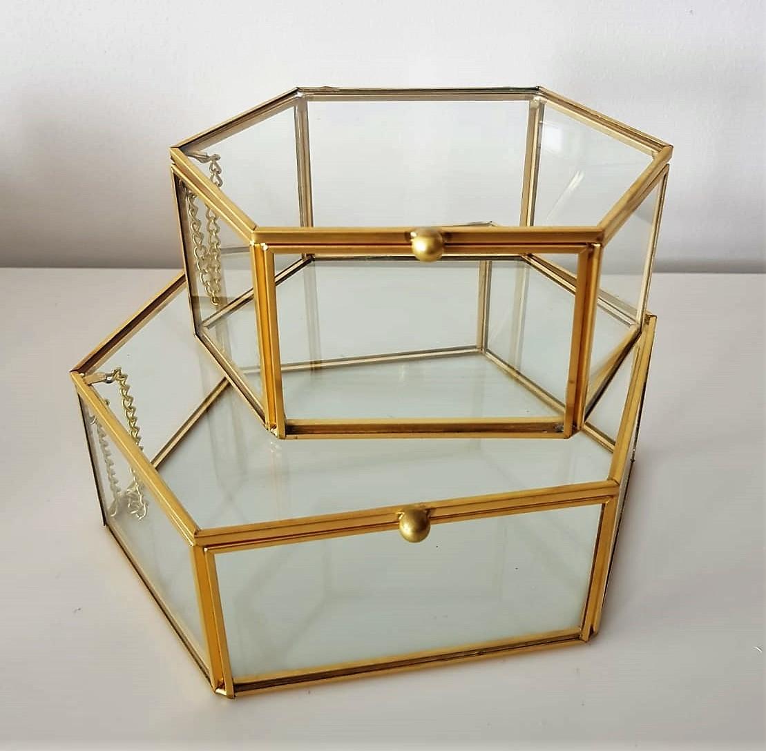 Gold geometric terrarium/ring boxes (Long Hexagon Box)