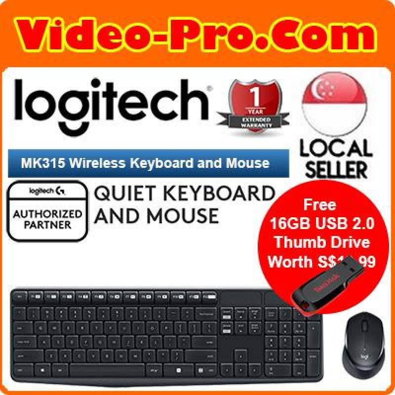 [Free 16GB Thumb Drive] Logitech MK315 Quiet and Durable Wireless Keyboard and Mouse Combo 920-009068 Singapore