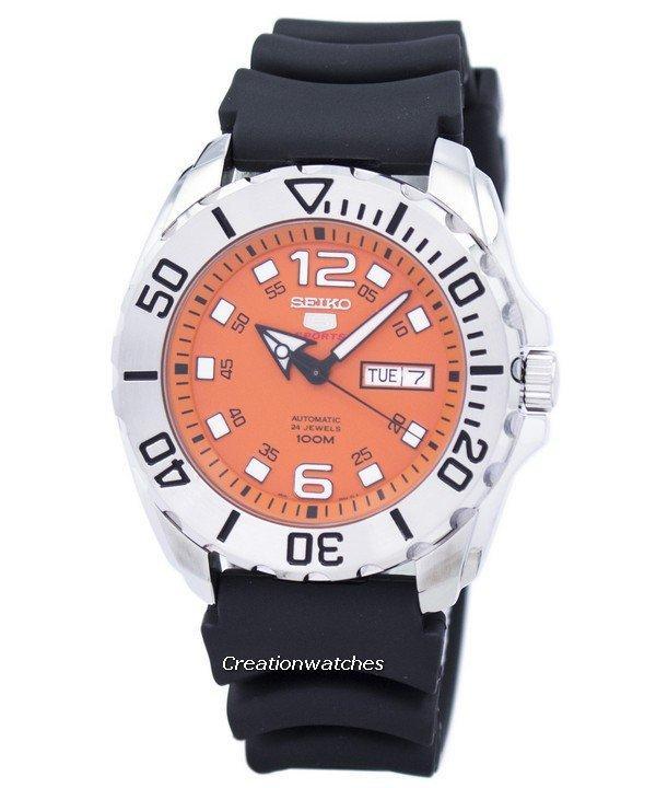 Seiko 5 Sports Automatic Men's Black Rubber  Strap Watch SRPB39K1
