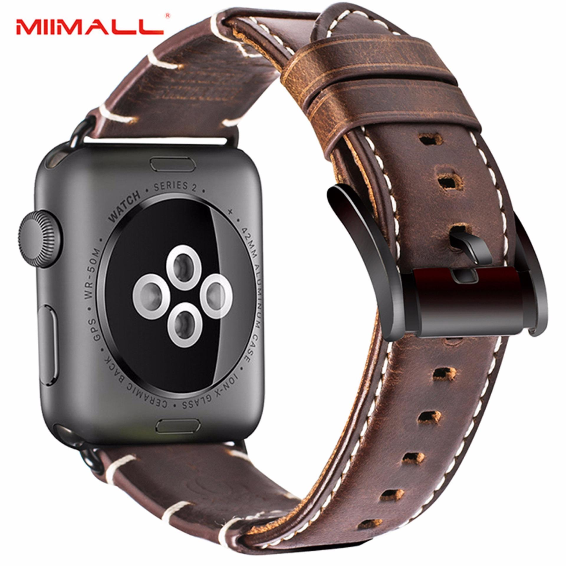 The Cheapest Miimall Apple Watch Strap 42Mm Retro Crazy Horse Texture Genuine Handcraft Leather Strap Classic Buckle Replacement Wrist Band Watch Strap With Stainless Metal Adapter For Apple Watch Series 3 Series 2 Series 1 38Mm All Versions Brown Intl Online