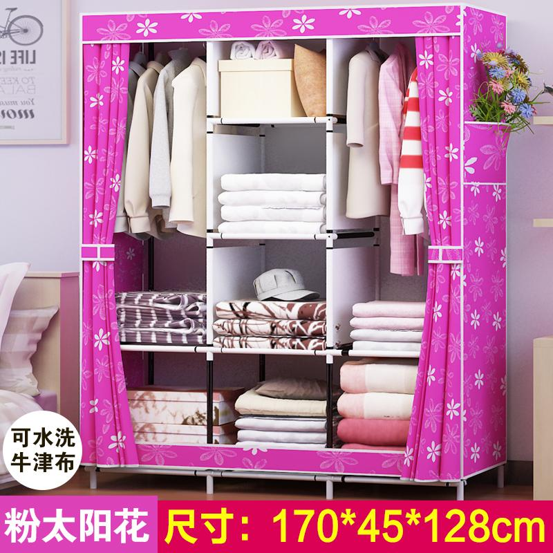 Oxford Cloth Closet Simplicity Folding Cloth Wardrobe Combination Steel Frame Reinforced Closet Large Size Total-enclosed Dustproof Storage