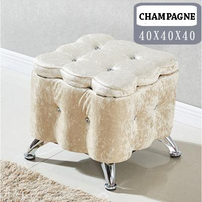 JIJI Premium Italy European Flannel Grade Storage Stool (40 x 40 x 40cm) (Storage Stool & Stools) - -Chairs  Sofa  Stools ★Storage  Organizer ★Furniture (SG)