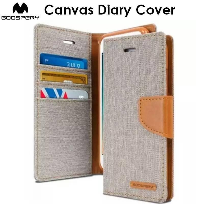 Goospery Canvas Diary Cover Case Cases Casing Card Slot Holder For Samsung Galaxy S7