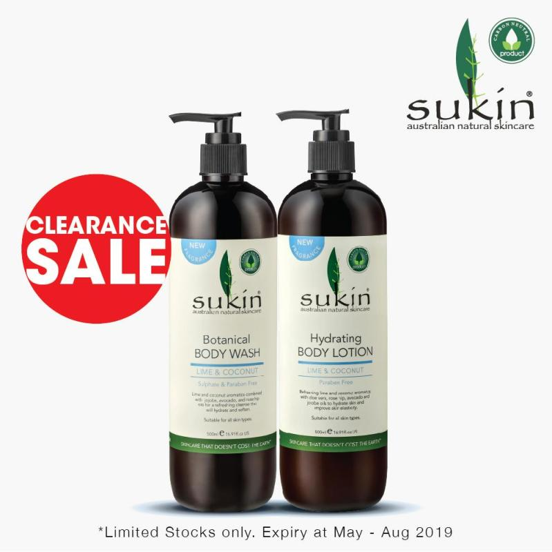 Buy [SUKIN CLEARANCE] COCONUT & LIME BODY WASH (500ML) + COCONUT & LIME BODY LOTION (500ML) Singapore