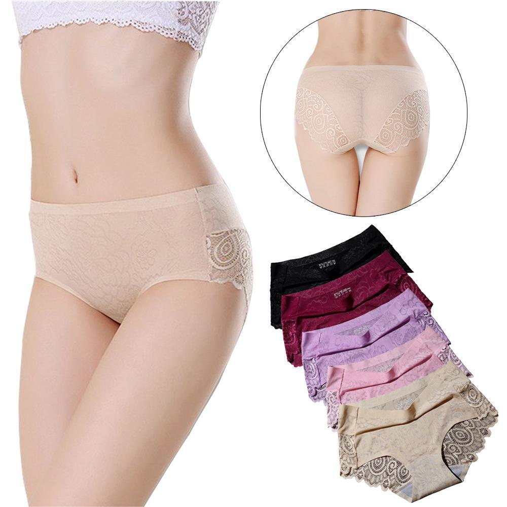 63ec5c606583 5PCS Women Underwears Panties Briefs Lace Back & Front Flower Pattern  Seamless Ice Silk Nylon Middle