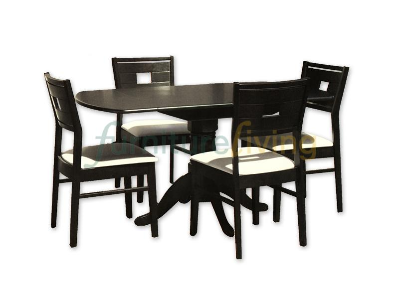 Furniture Living 1+6 Extendable Wooden Dining Set (Walnut)