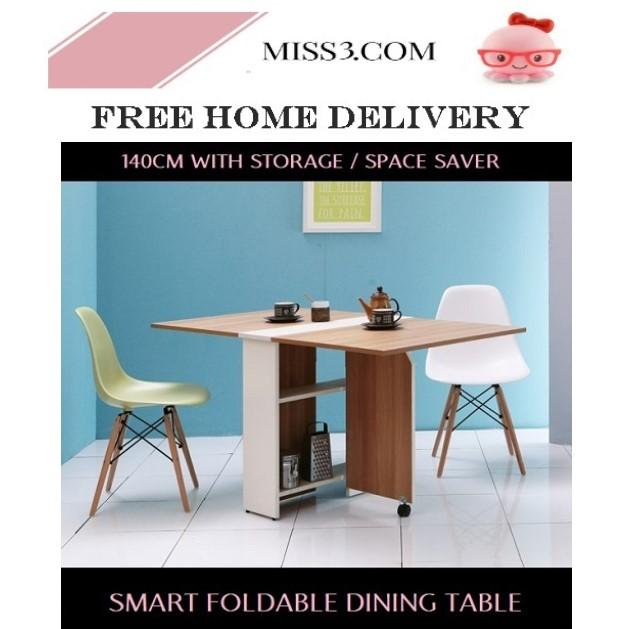 Foldable Smart Dining Table (140cm) By Miss3.com.