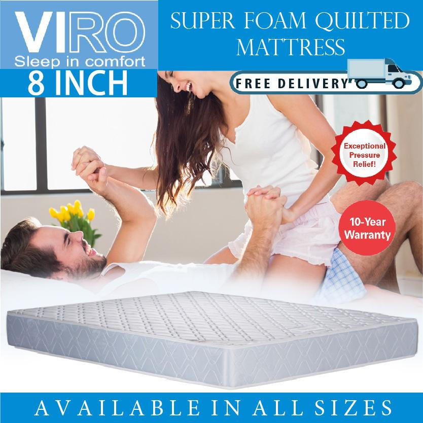 VIRO BRAND 8 INCH Super Foam Quilted Mattress Single,Super Single,Queen,King size Available