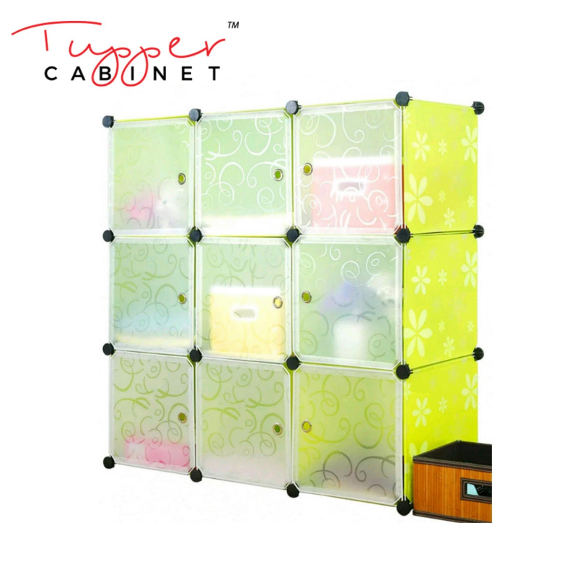 Tupper Cabinet Lime Floral 9 Cubes Storage Cabinet Beauty Collection