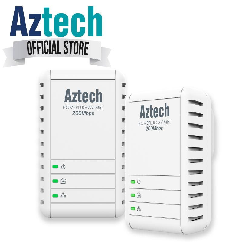 New Aztech Hl113E Twin 200Mbps Ethernet Adapter Homeplug