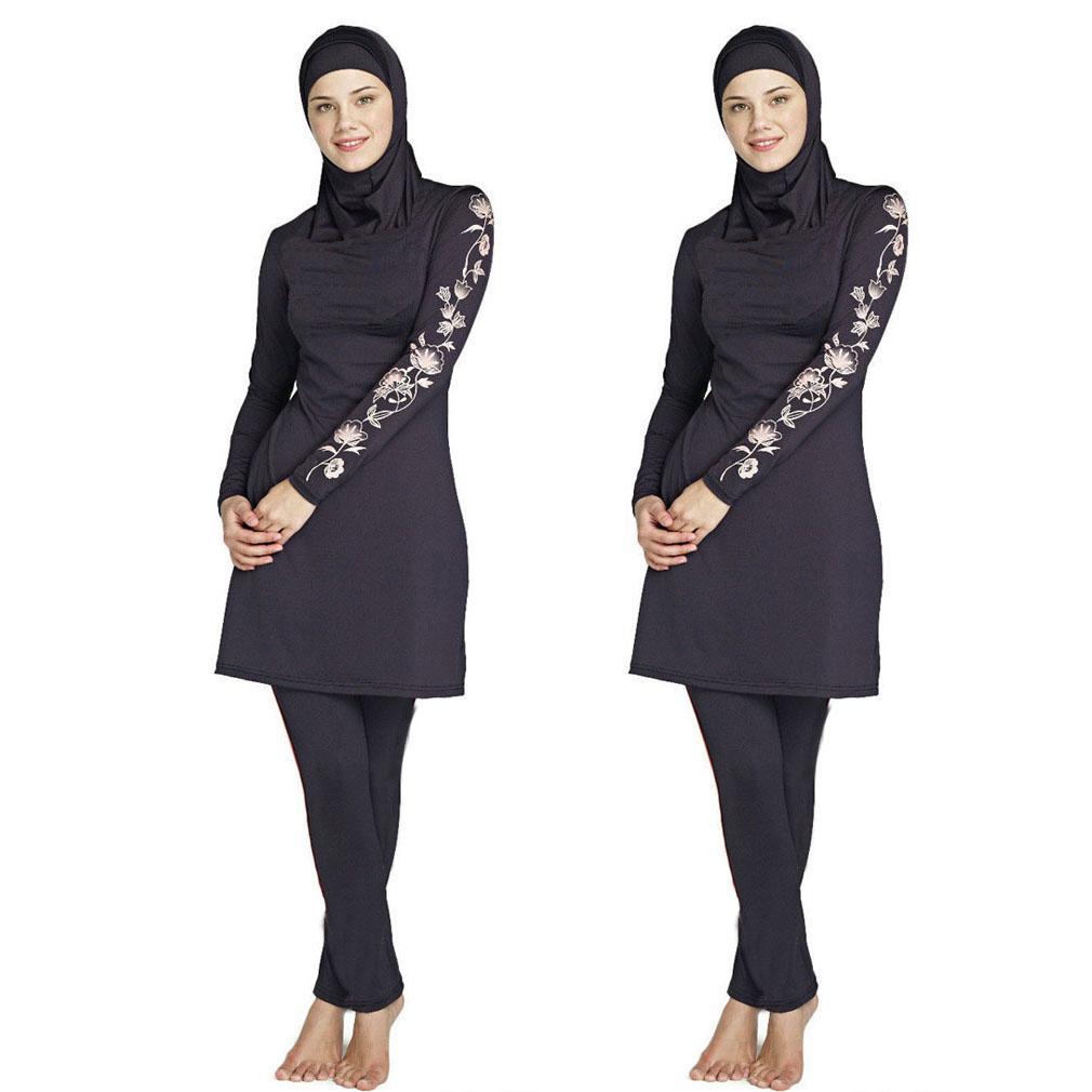 153075aaf778a S-6XL Women Plus Size Printed Floral Muslim Swimwear Fashion Muslimah  Islamic Swimsuit Swim Surf