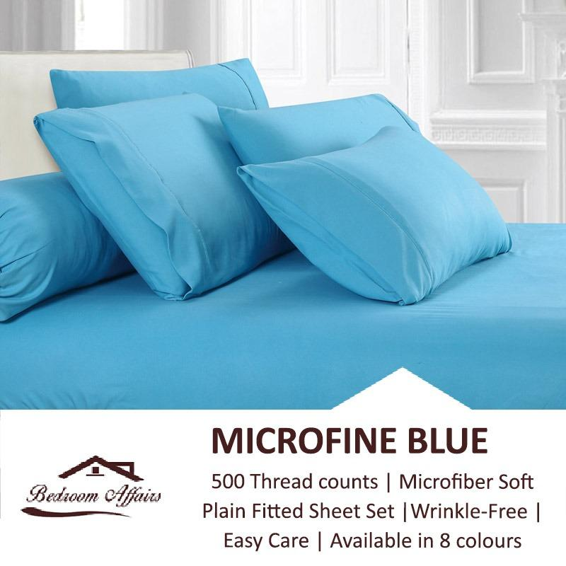 Top Rated Microfine Blue Fitted Sheet Set