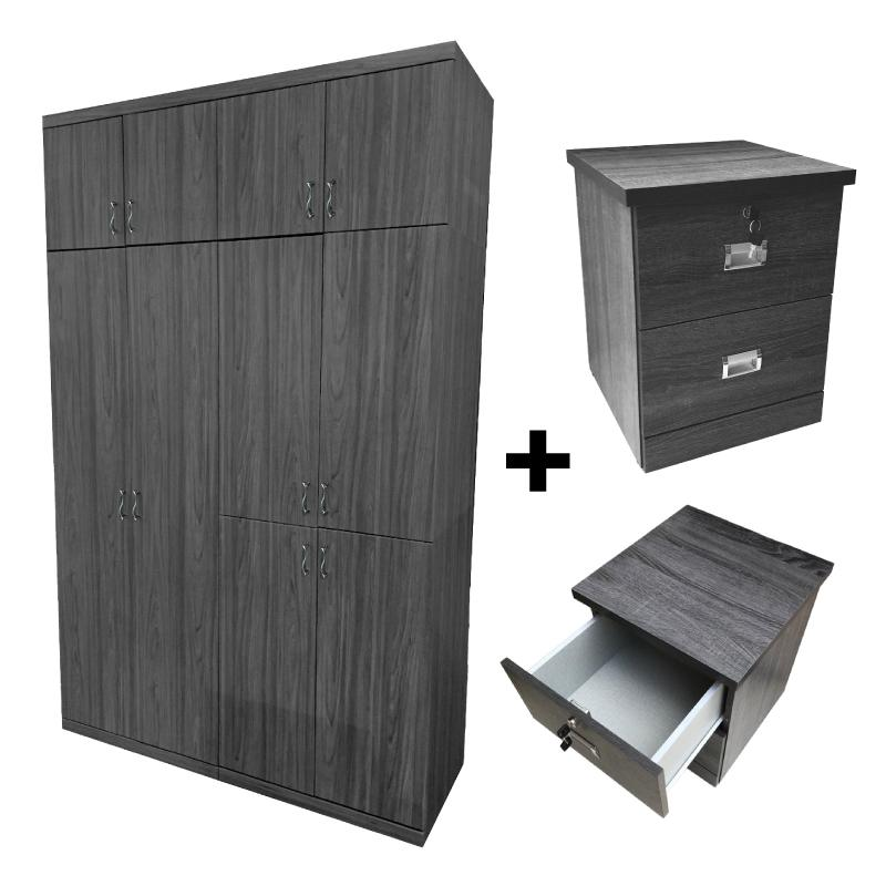 [A-STAR] Mason Ash Grey Wardrobe (FREE Side Table)