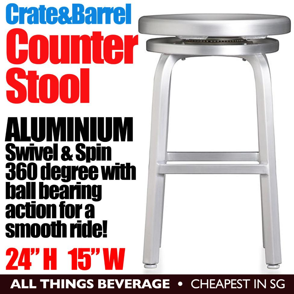 Crate & Barrel Spin Counter Stool Swivel 360 degrees Aluminum  24 Round