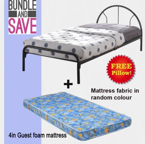 Victo Single Bedframe + 4inch Guest Foam Mattress (FREE PILLOW)