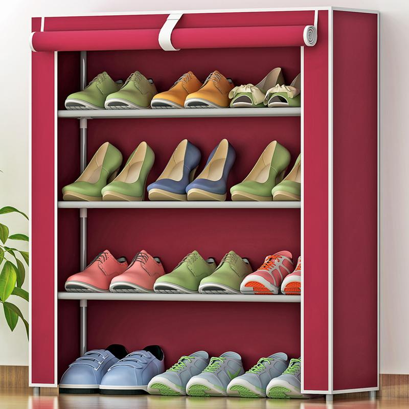 MWT1 Simplicity Dustproof Shoe Rack Thick NON-WOVEN Shoe Cabinet Creative Combination Four Layer Shoes Cabinet