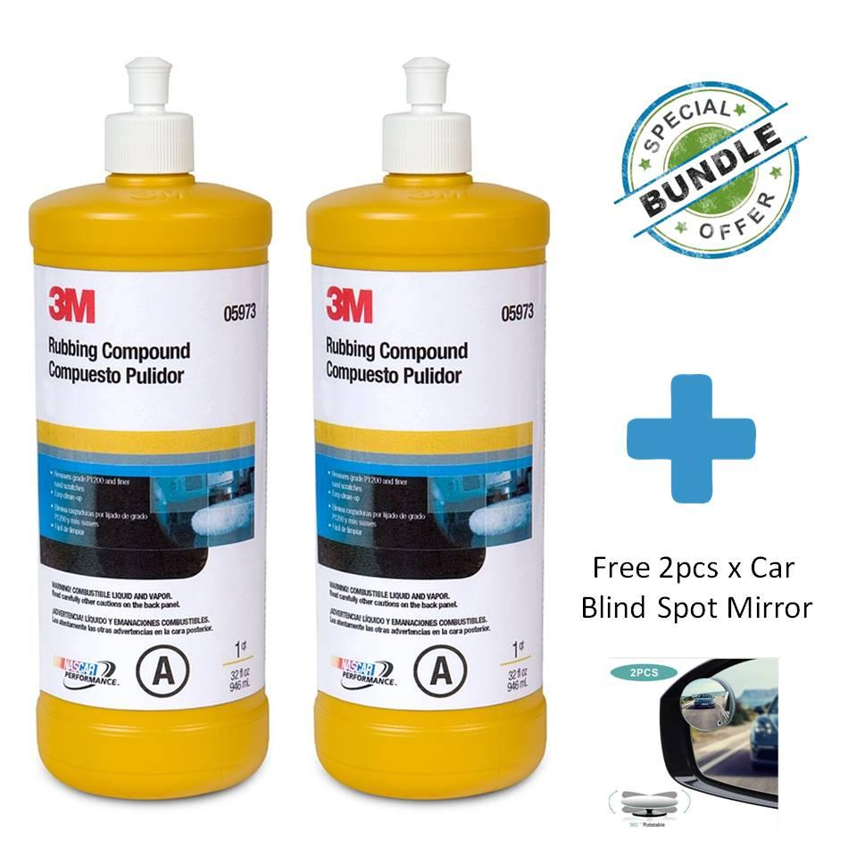 [special Bundle] 2 X 3m Rubbing Compound, 1 Quart, 05973 + Free Car Blind Spot Mirror By Masstec.