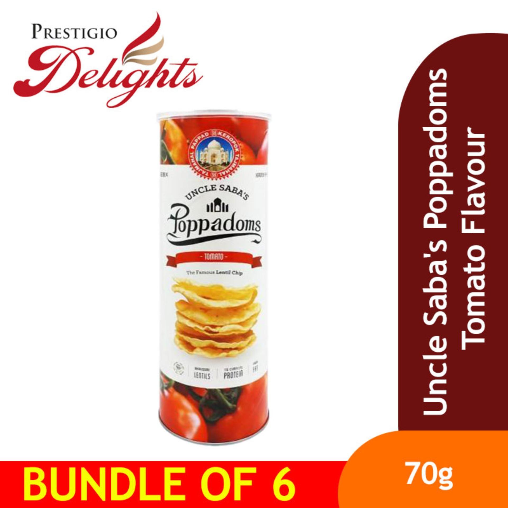 Uncle Sabas Poppadoms Tomato Flavour Bundle Of 6 By Prestigio Delights.