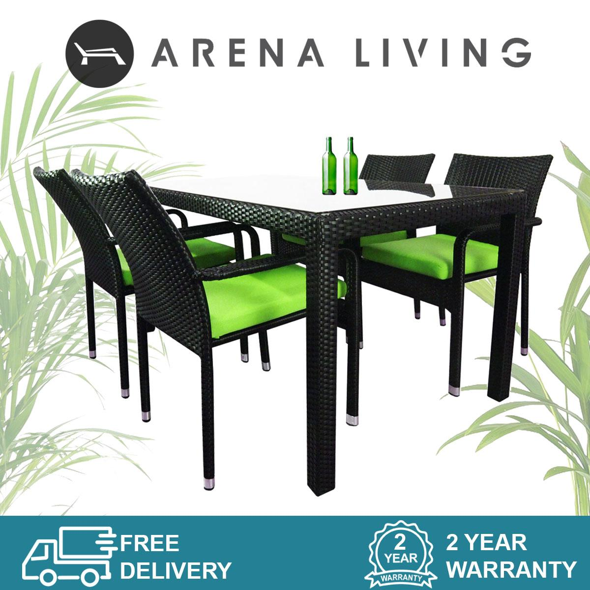 Boulevard 4 Chair Dining Set Green Cushion, Outdoor Furniture by Arena Living™