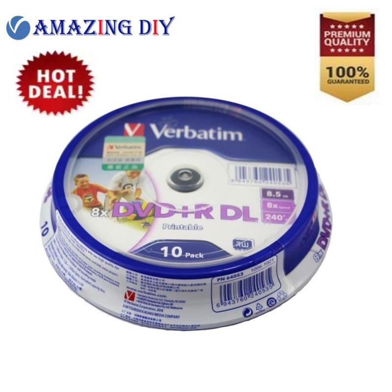 10 Pieces Verbatim blank printable DVD+R DL 8X Dual Layer 10 Discs DVD +R dl 8.5GB with original cake box