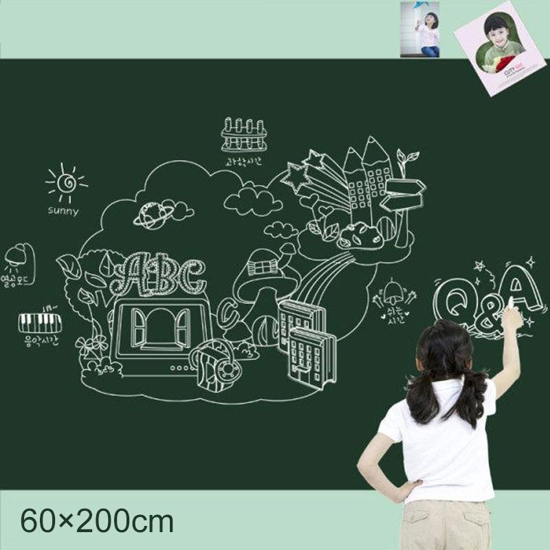 45c/60cm Chalkboard Blackboard /whiteboard Wall Sticker Wall Black Board White Board Free Marker Pen/ Chalk By Homeliving.