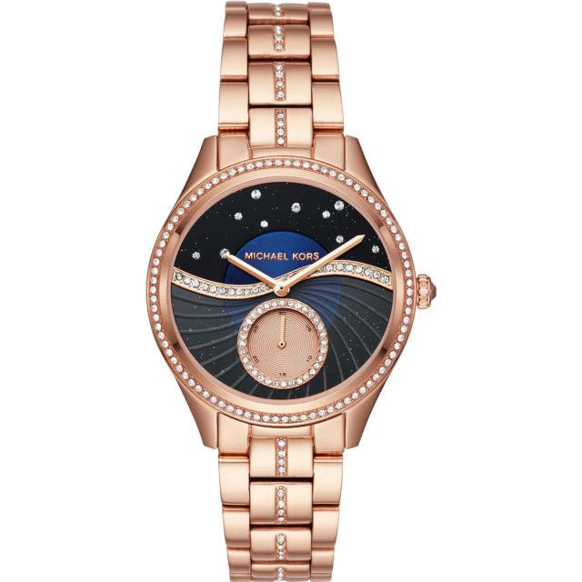 [new] Michael Kors Lauryn Rose Gold-Tone Glitz Sunray Dial 38mm Ladies Watch Mk3723 By Watch Centre.