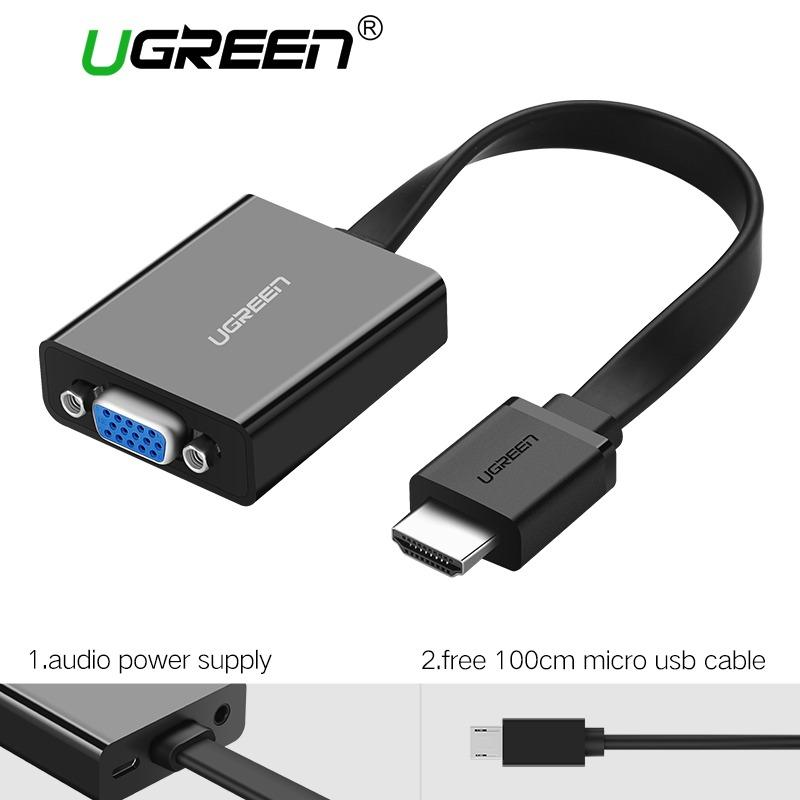Cheapest Ugreen Hdmi To Vga Adapter Digital To Analog Video Audio Converter Cable Hdmi Vga Connector For Xbox 360 Ps4 Pc Laptop Tv Box Black Online