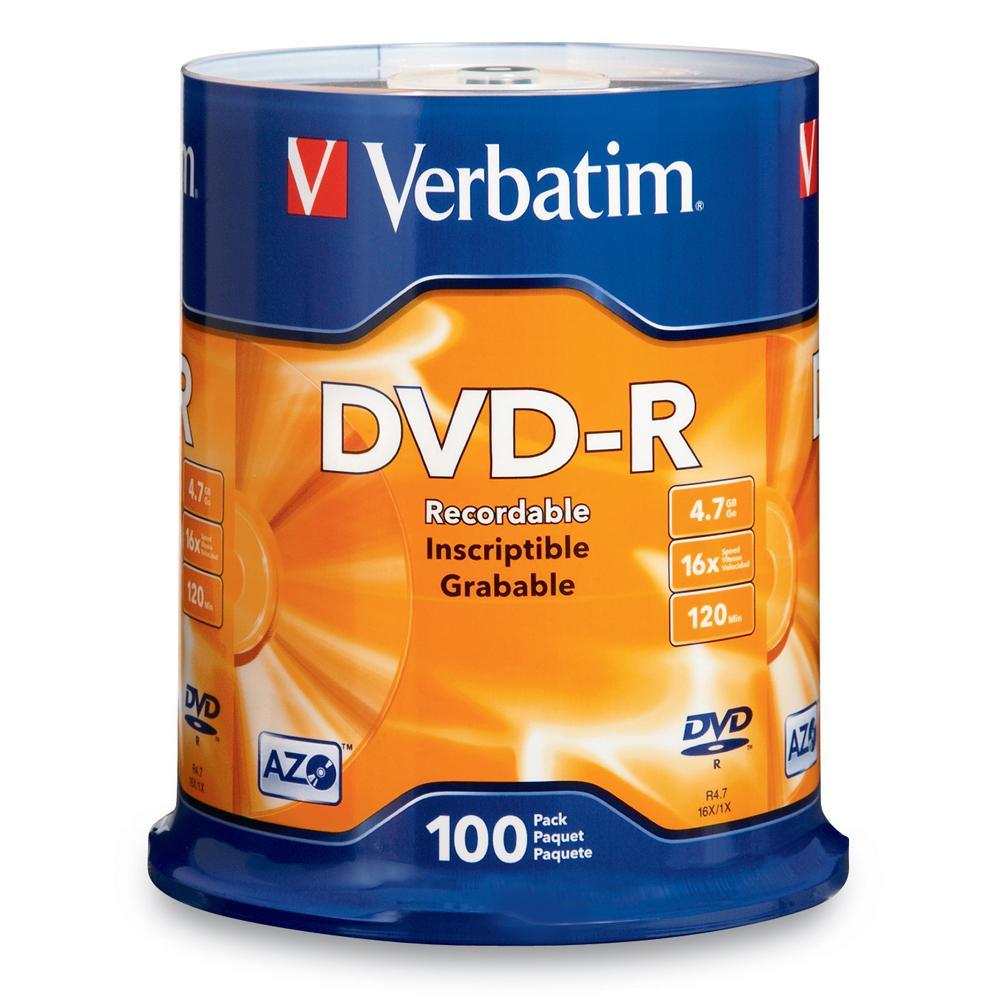 Verbatim DVD-R AZO 100pcs per cake box 4.7gb 16x 120min