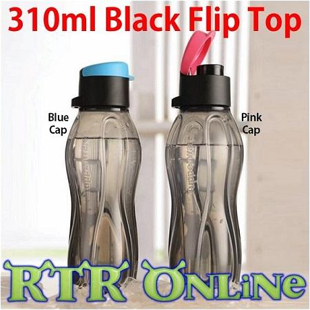 Tupperware 310ml Black Flip Top Water Bottle