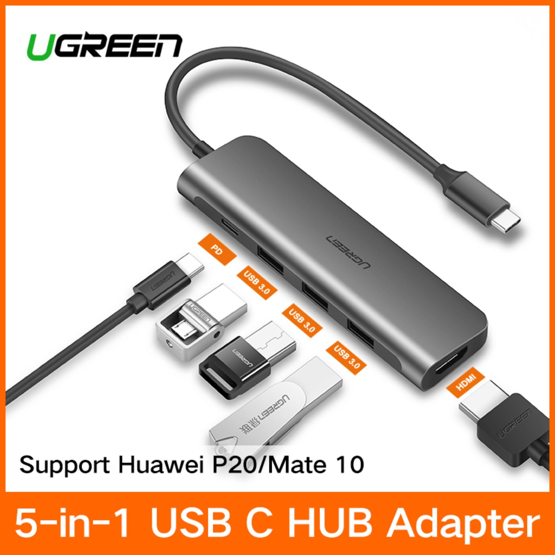 UGREEN (HDMI Version) USB C Hub, USB TYPE C 3.1 Adapter Dock with 4K HDMI/VGAPort, 3 USB 3.0 Ports, 60W USB C PD Charge Port for MacBook Pro 2017 2016, Dell XPS 15 13, HP Spectre/Envy, Huawei mate 10/P20, Samsung Galaxy S9 S8 - intl